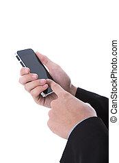 téléphone portable, tenue, intelligent, main