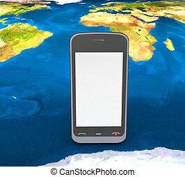 téléphone portable, terre, fond, 3d