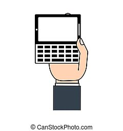 téléphone portable, texting, main
