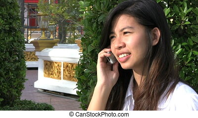 téléphone portable, thaï, girl, conversation