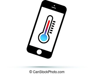 téléphone portable, thermomètre, icône