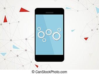 téléphone portable, touchscreen, engrenages