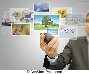 téléphone portable, touchscreen, images, virtuel