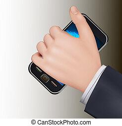 téléphone portable, touchscreen, tenant main