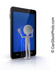 téléphone portable, touchscreen, toucher, homme