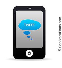 téléphone portable, tweet