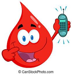 téléphone portable, type, sanguine, tenue