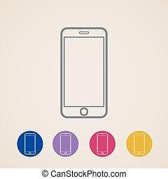 téléphone portable, vecteur, icônes