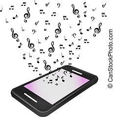 téléphone portable, vecteur, musique, illustration