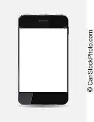 téléphone portable, vecteur, noir, illustration