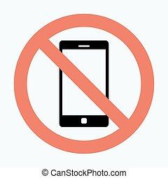téléphone portable, vecteur, non, signe