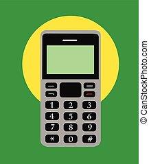 téléphone portable, vecteur, retro