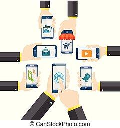 téléphone portable, vecteur, tenant main