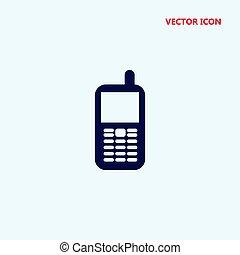 téléphone portable, vecteur, vieux, icône
