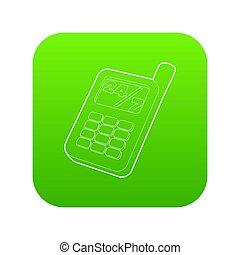 téléphone portable, vert, icône