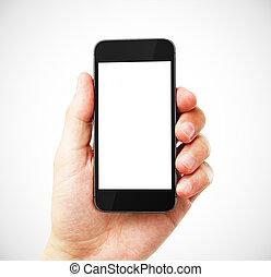 téléphone portable, vide, main