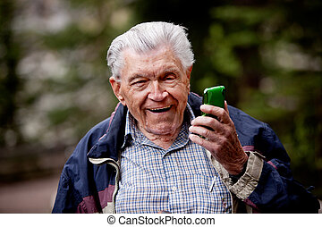 téléphone portable, vieil homme