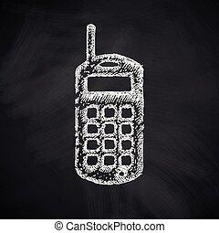 téléphone portable, vieux, icône