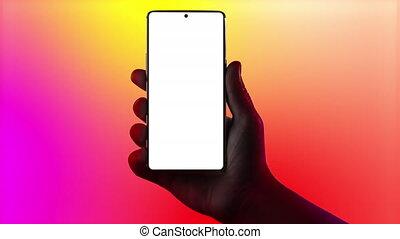 téléphone., possession main