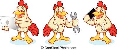 téléphone, poulet, mascotte
