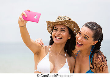 téléphone, prendre, amis, selfie, intelligent