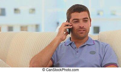 téléphone, prendre, appeler, désinvolte, homme