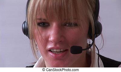 téléphone, professionnel, jeune, femme affaires