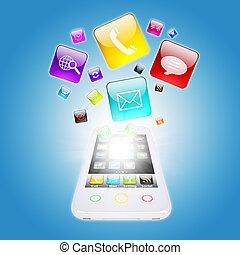 téléphone, programme, intelligent, icônes