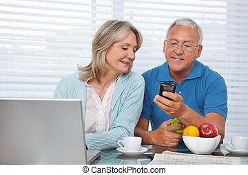 téléphone, projection, sien, homme, épouse