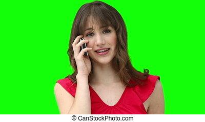 téléphone, quoique, femme souriant, conversation