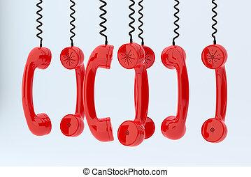 téléphone, récepteurs, pendre