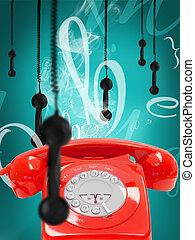 téléphone, retro, pendre, récepteurs