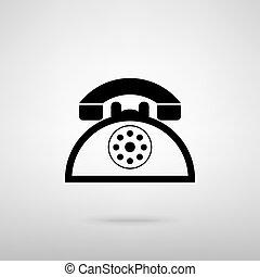 téléphone, retro, signe