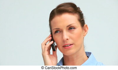 téléphone, rire, femme affaires