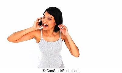 téléphone, rire, femme chinoise