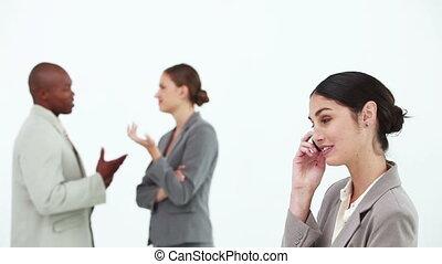 téléphone, rire, femme
