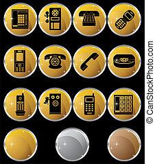 téléphone, rond, icônes
