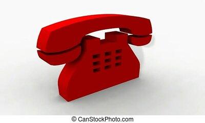 téléphone, rotation, rouges