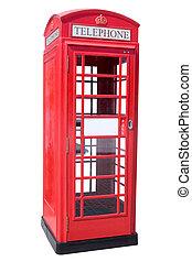 téléphone, rouges, cabine