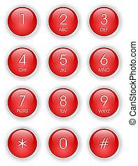 téléphone, rouges, clavier