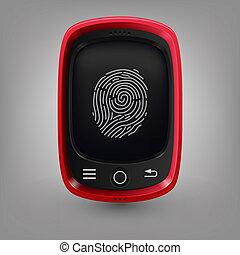 téléphone., rouges, empreinte doigt