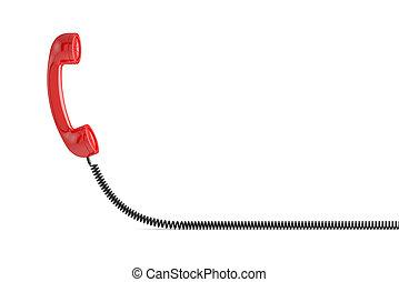 téléphone, rouges, récepteur