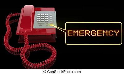 téléphone, rouges, urgence