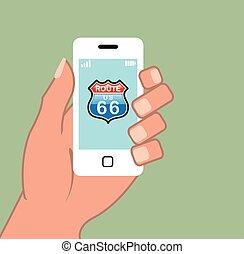téléphone, routez-en 66, intelligent, signe