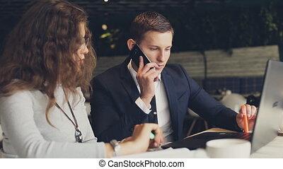 téléphone, séance, conversation, complet, girl, café, homme