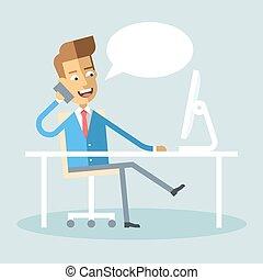 téléphone, séance, conversation, directeur, traversé,...