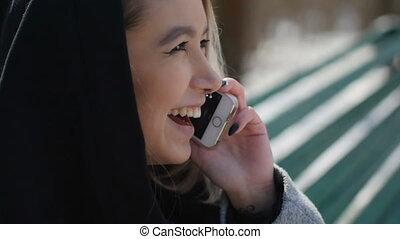 téléphone, séance, parc, jeune, banc, conversation, quoique, girl