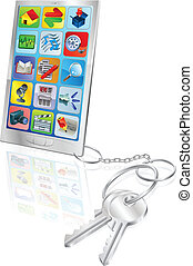 téléphone, sécurité, concept, illustration
