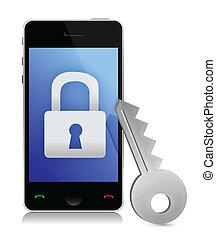 téléphone, sécurité, concept