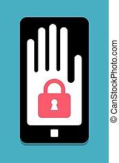 téléphone, sécurité, concept, intelligent